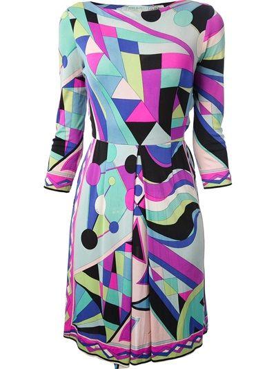 EMILIO PUCCI VINTAGE 1970S Geometric Print Dress