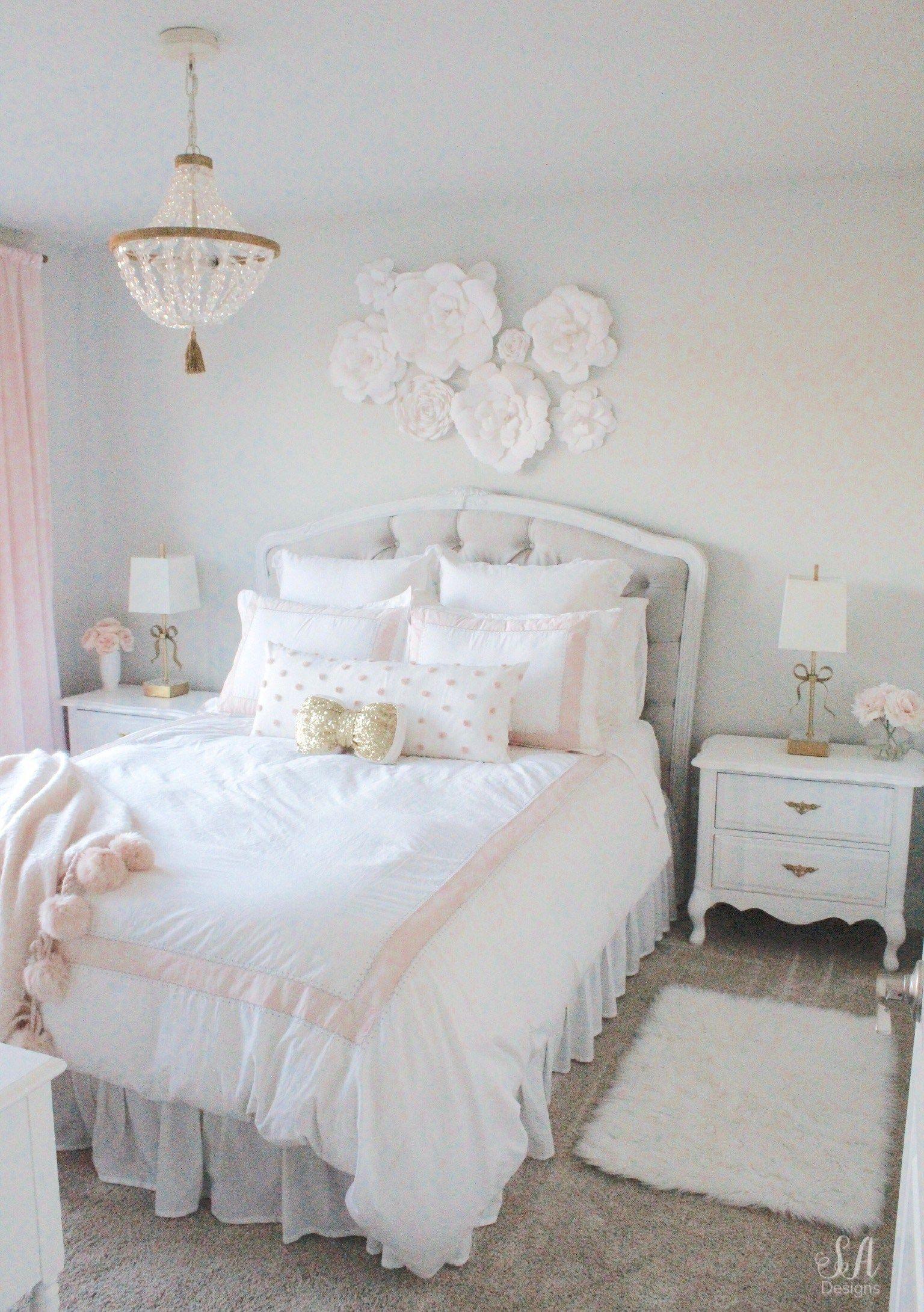 Tween Girl S Bedroom In Blush Gold Grey Bedroom Vintage Tween