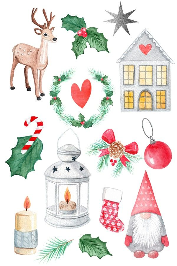 Christmas Clip Art In 2020 Christmas Watercolor Christmas Drawing Christmas Illustration