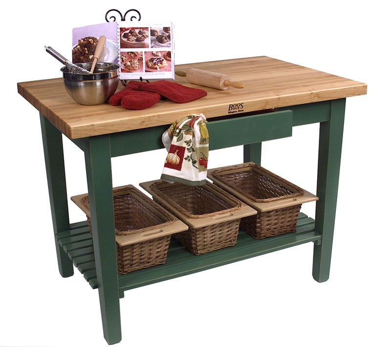 John Boos Classic Country Work Table Kitchen Island 60 X 30 1 Shelf 11 Colors 999 00 Kitchen Work Tables Work Table Butcher Block Tables
