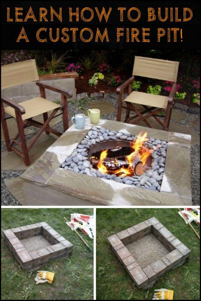 offene feuerstellen fur den garten, diy fire pit with custom cap stone | garten-makeover | pinterest, Design ideen