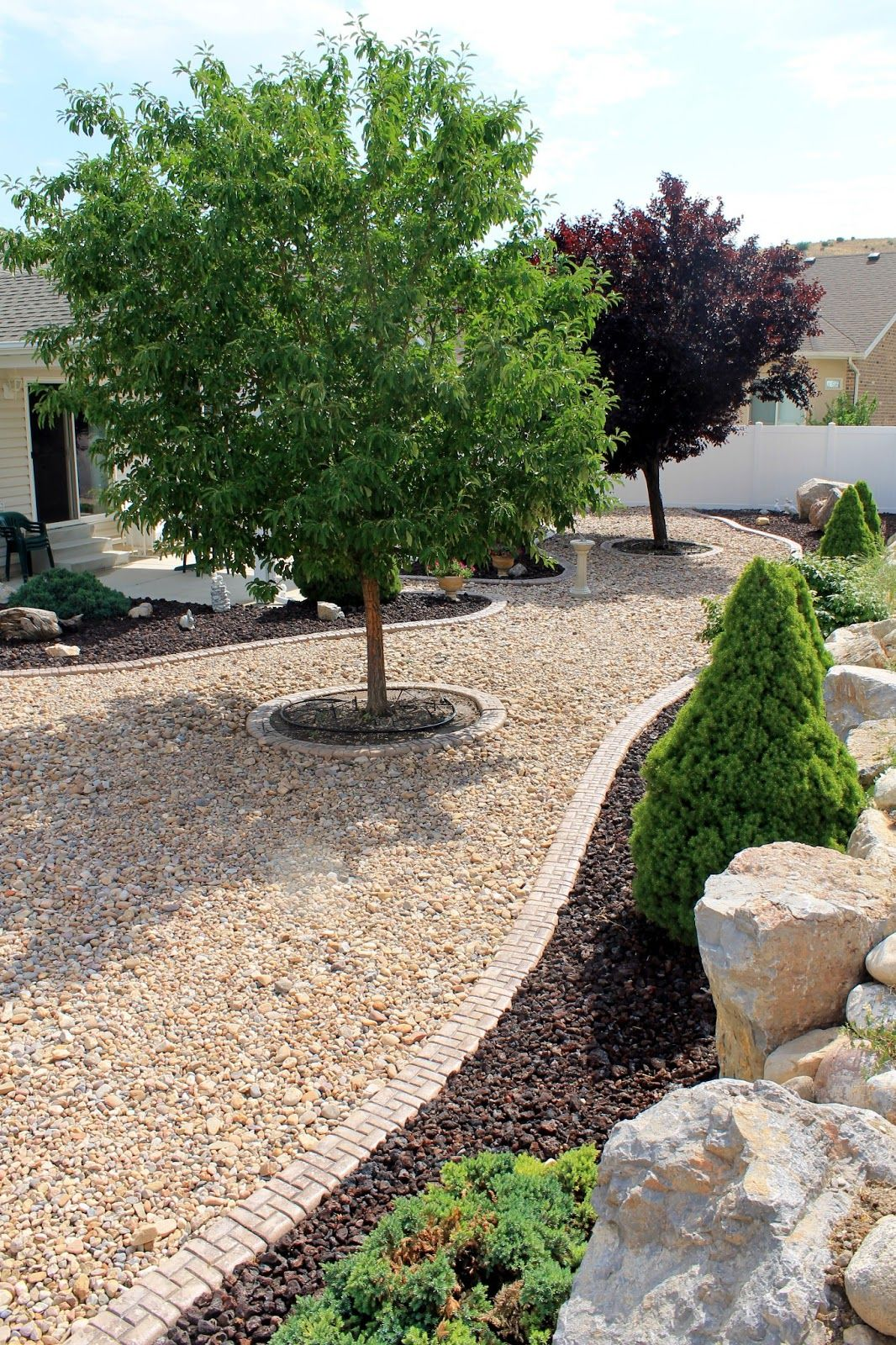 This Type Of Edging For Between The Sand Gravel And Patio Areas It S Flush With Landscaping With Rocks Front Yard Landscaping Design Rock Garden Landscaping
