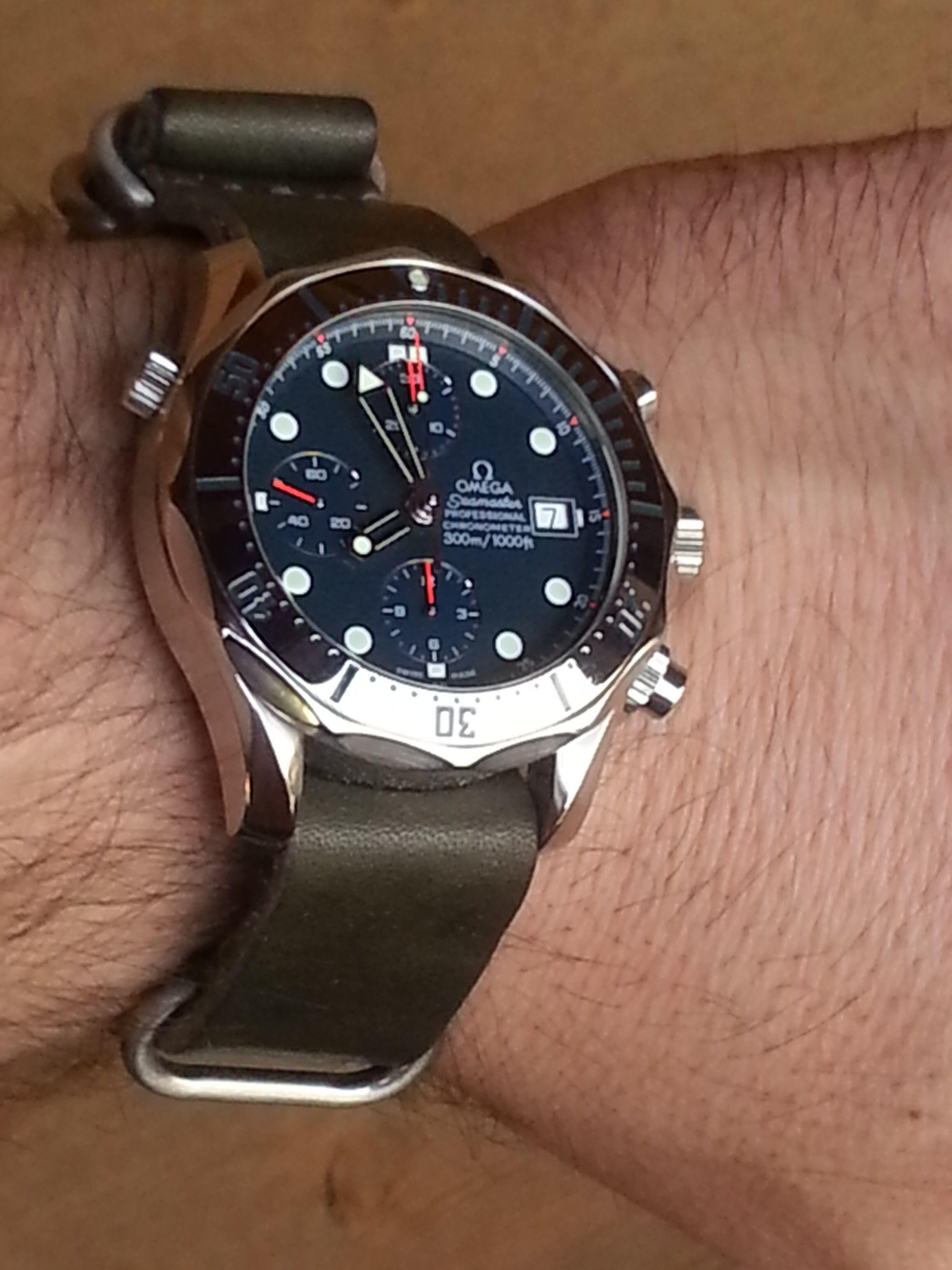 Omega Seamaster 300m Chrono Diver, DaLuca Leather NATO Strap