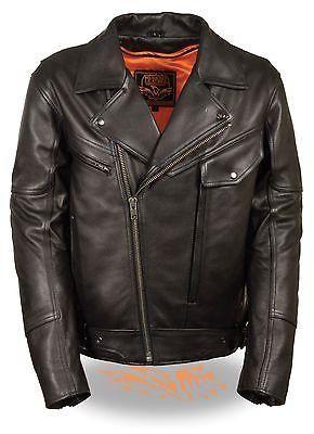 Men S Motorcycle Side Set Belt Utility Pocket M C Leather Jacket In