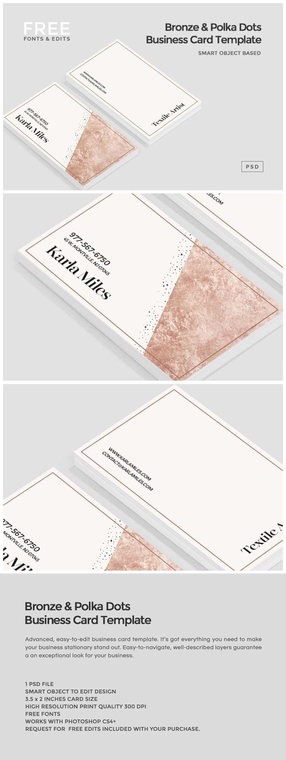 Bronze & Polka Dots Business Card Size: 3.5 x 2 Inches .PSD with ...