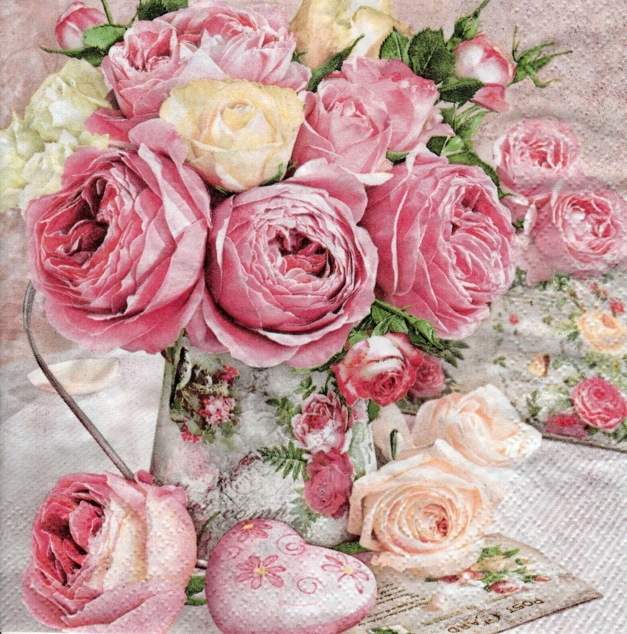 4 Shabby Paper napkins Serviettes, Pink Roses Paper Napkins, Crafts Supplies, Roses Serviettes, Stunning Lunch Napkins, Party Napkins, NEW #papernapkins