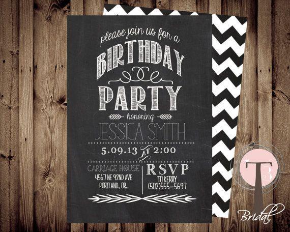 Chalkboard birthday invitation birthday invitation elegant – Thirtieth Birthday Invitations