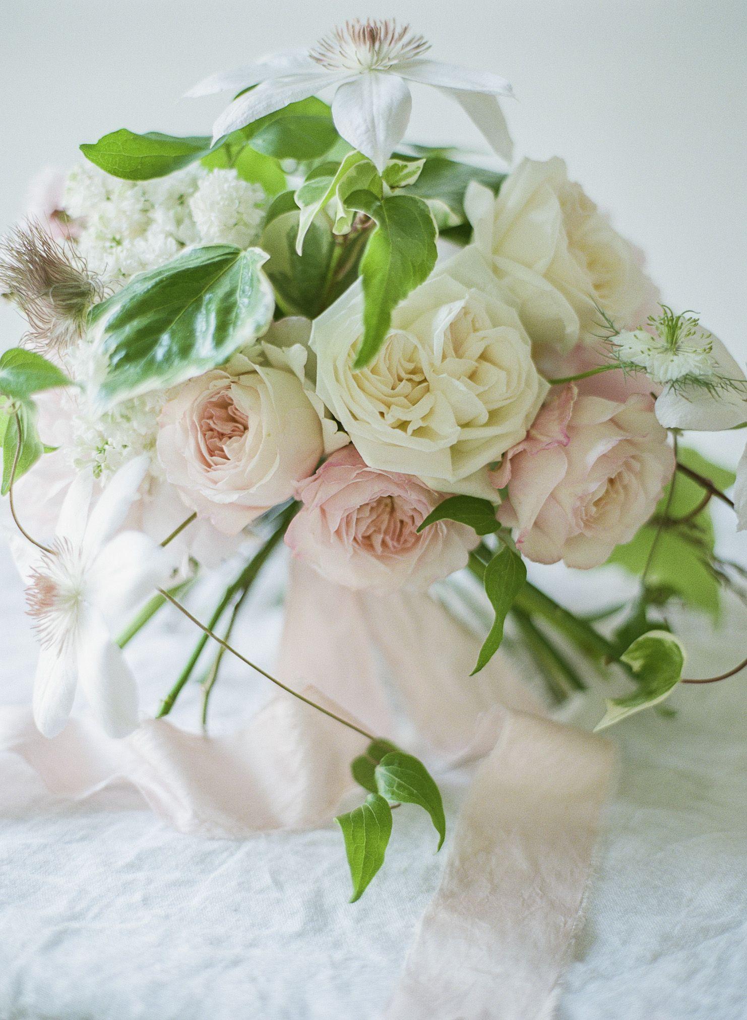 Rosegolden Flowers / bridal bouquet of o'hara and kiera garden roses, lilac, ivy, clematis, pulsatilla, etc.