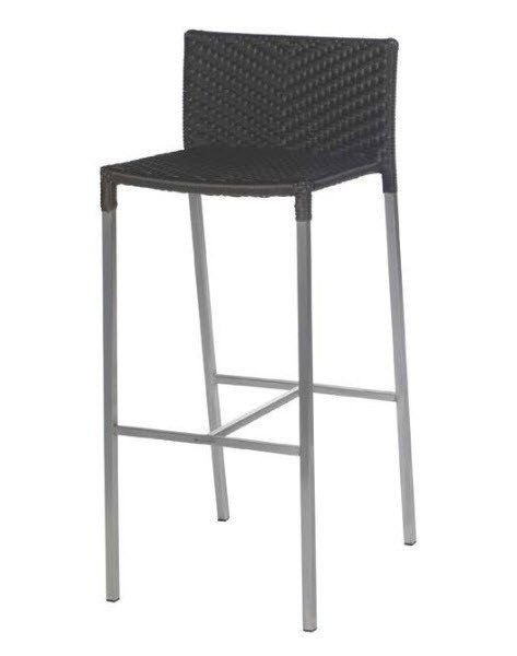 Olivia Wicker Stainless Steel Bar Stool In Brown Stainless