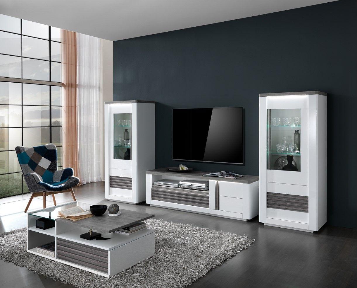 meuble tv vertigo blanc chene gris pas