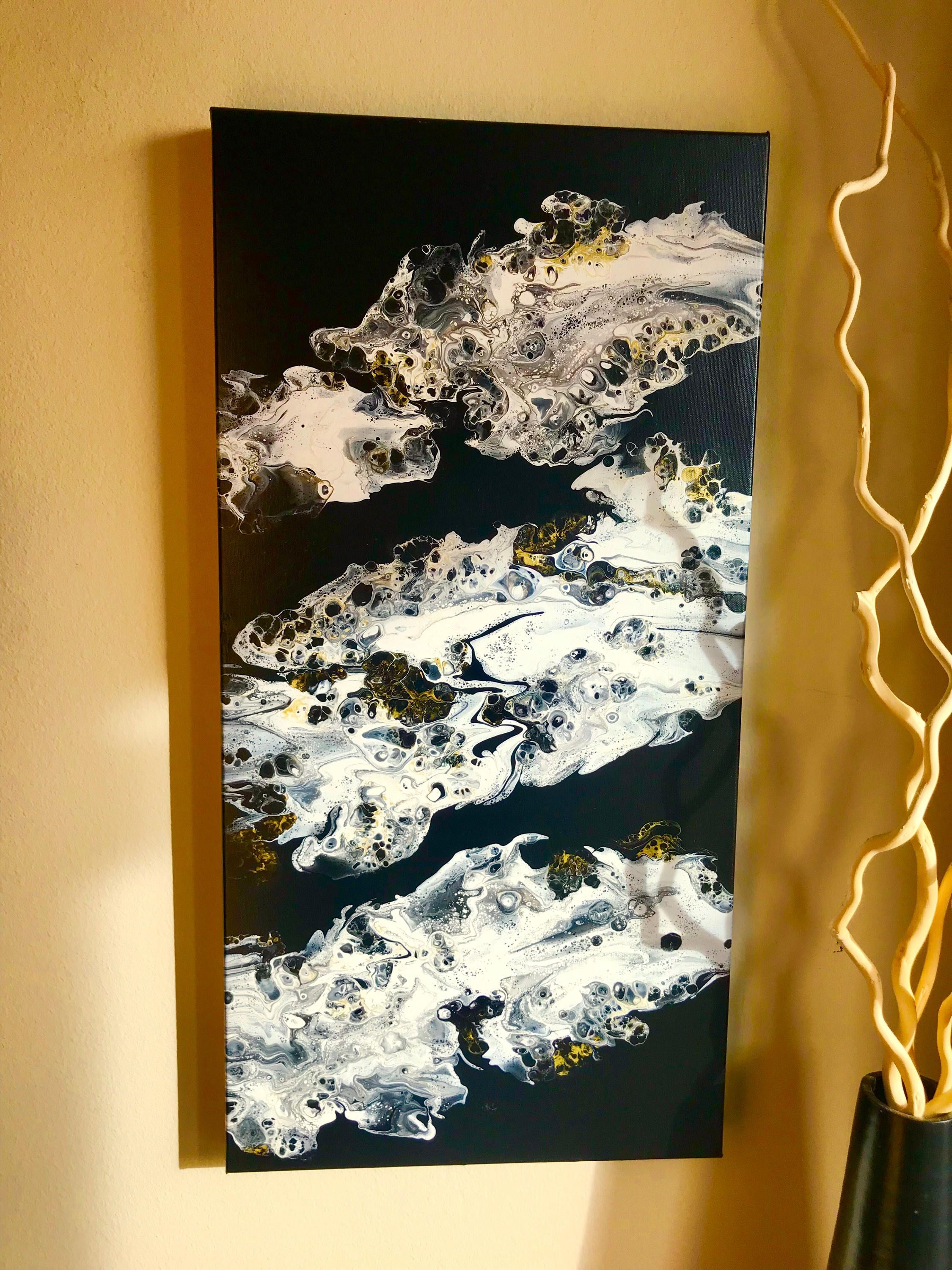 Sale large acrylic pour painting black and white abstract
