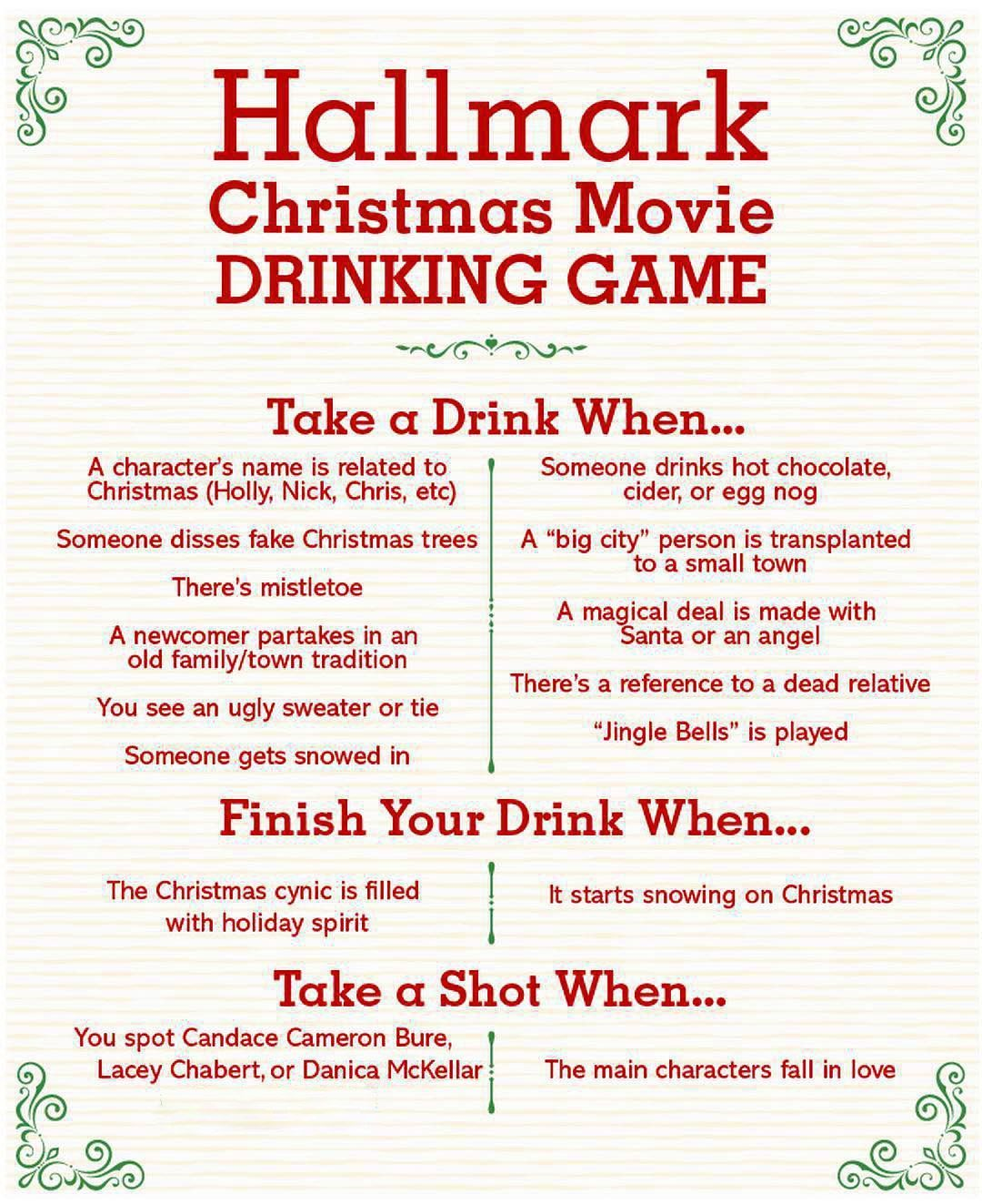 This Hallmark Christmas Movie Drinking Game Officially Wins the Holidayscountryliving