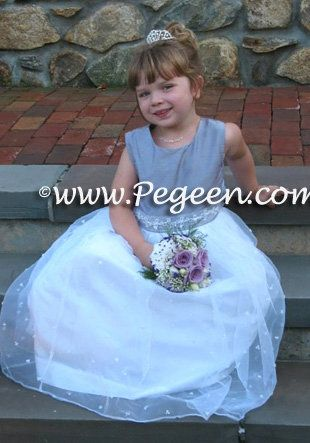 White and Purple Flower Girl Dresses Pegeen Style 390