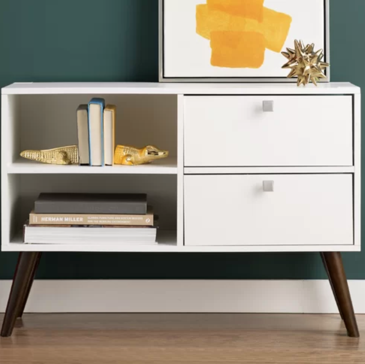 carneal white console shelf tv stand | Mid century modern console ...