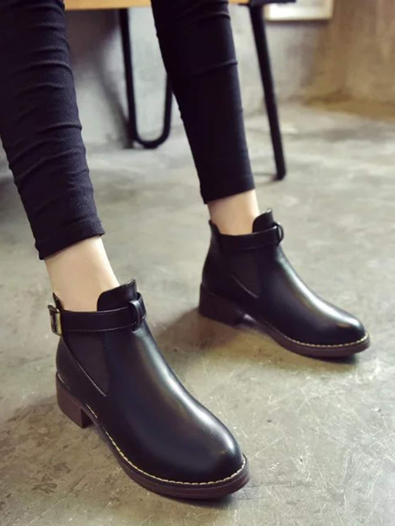 a924cb0ceee0 Casual Round Toe Ankle No zipper Black Mid Heel Chunky Side Buckle PU  Elastic Ankle Boots