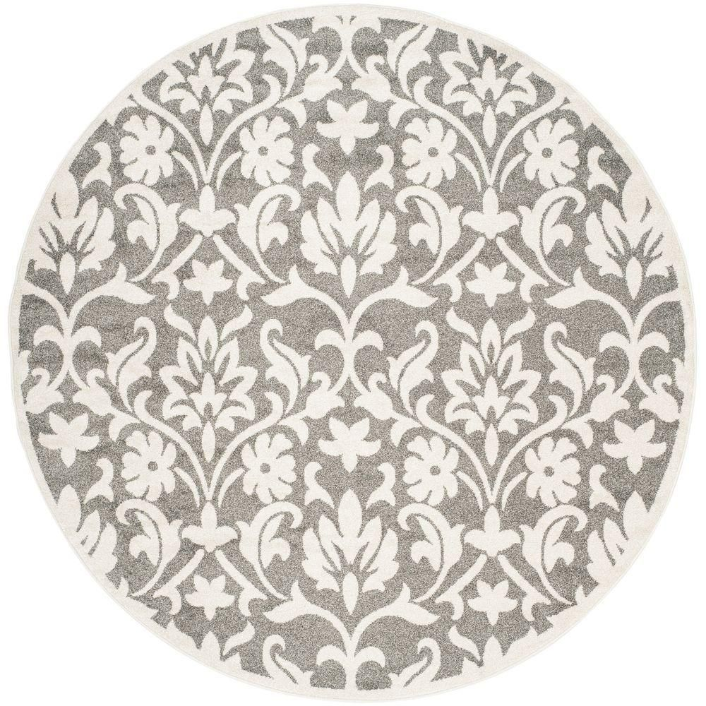 Safavieh Amherst Dark Gray Beige 7 Ft X 7 Ft Round Area Rug In