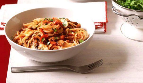 Spaghetti au poulet et champignons de Paris