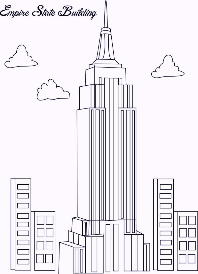 Empire State Building In New York Coloring Pages Empire State