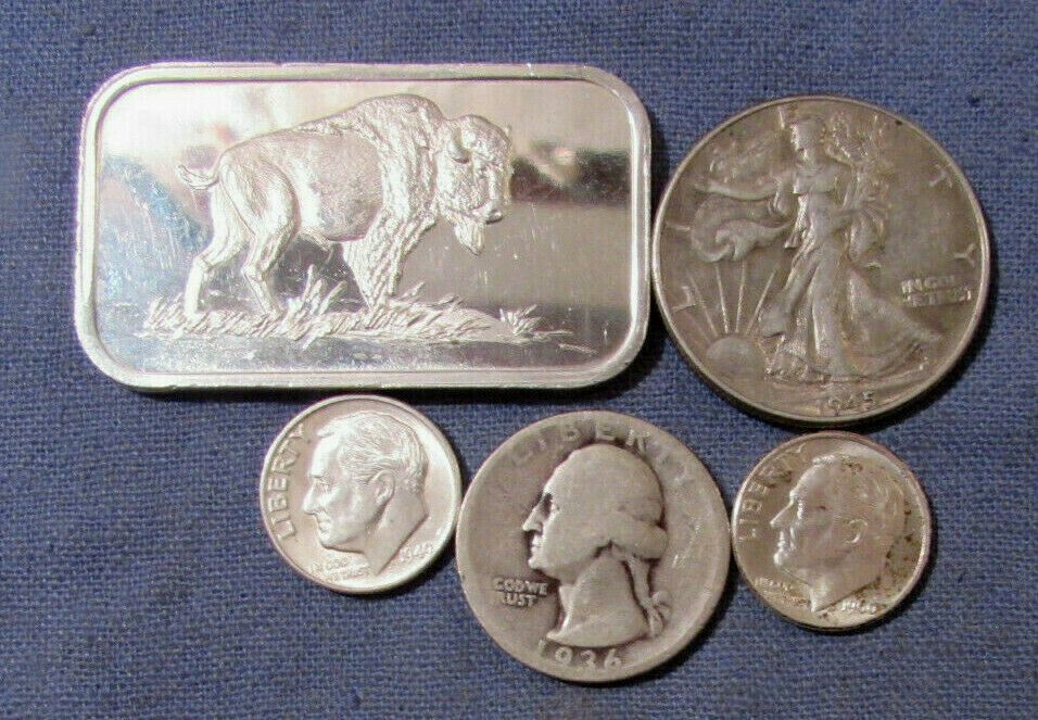 Us Coin Silver Lot And Silver 1 Oz Bar