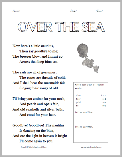 over the sea poem worksheet free to print pdf grades 2 4 ocean lesson plans sea. Black Bedroom Furniture Sets. Home Design Ideas