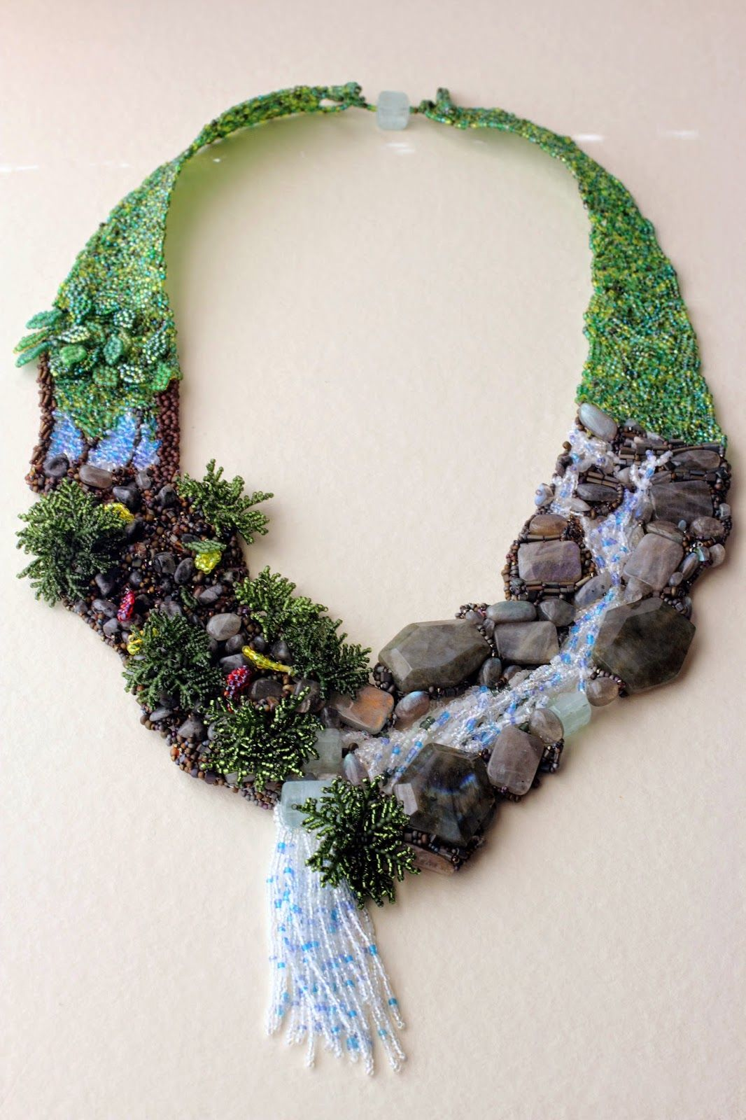 Drawing with beads waterfall necklace beadwork