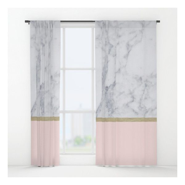 Marble Gold Blush Pink Pattern Window Curtains 79 Liked On