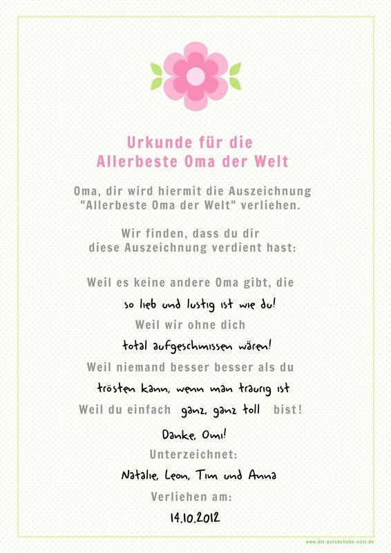 Omaurkunde Text Jpg 566 800 Urkunde Geburtstag Mutter