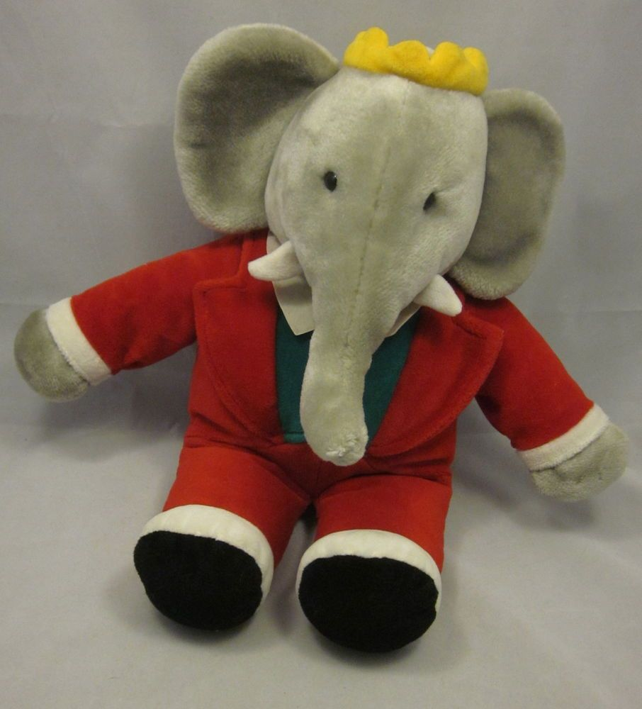 Gund Babar Vtg 1988 Red Suit Elephant Crown Stuffed Animal Plush 14