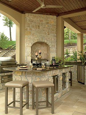 Outdoor Kitchen/Bar...This would be awesome below a deck outside the basement.