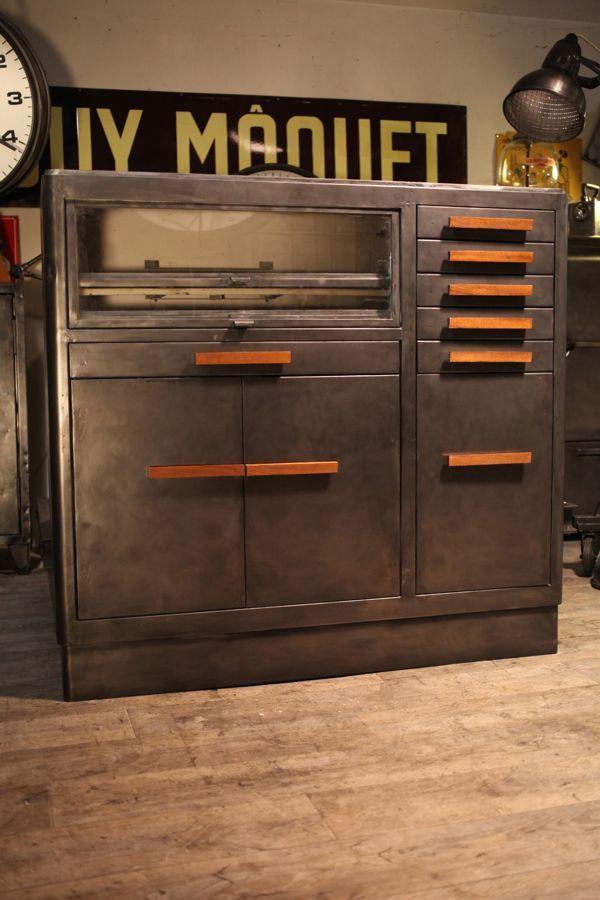 Mobilier industriel ancien de m tier de dentiste deco loft industrial meuble industriel - Meuble loft industriel ...