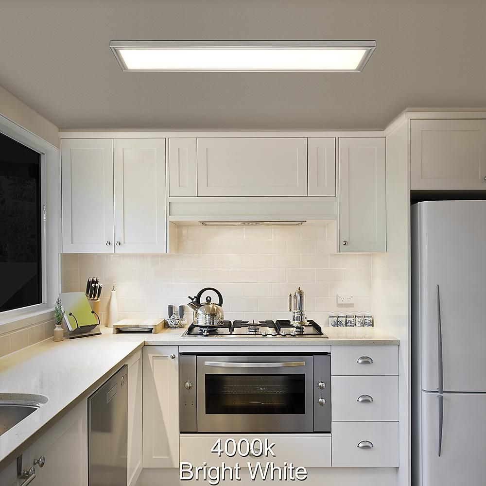 Hampton Bay 48 In X 12 In Low Profile Selectable Led Flush Mount Ceiling Flat Panel Brushed Nickel Rectangle 4000 Lumens Dimmable 54325111 The Home Depot Flush Mount Kitchen Lighting Home