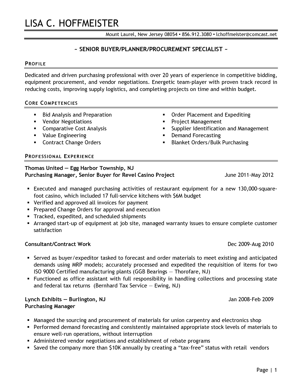 Senior Logistic Management Resume Senior Buyer Purchasing Manager