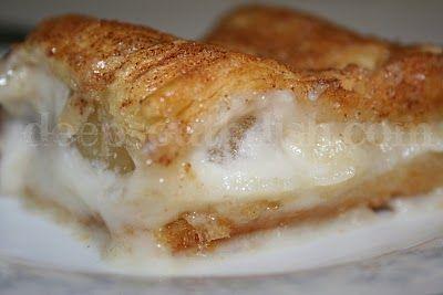 Crescent dough, apple pie filling, cream cheese, cinnamon and sugar.