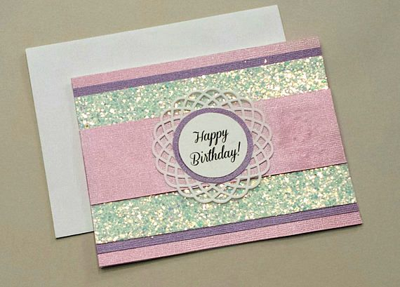 Handmade Happy Birthday Card Scrapbook Paper Pink And Purple