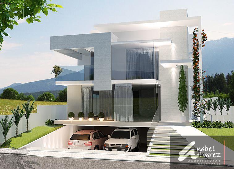 Garagem subterr nea fachadas pinterest garagem for Casas minimalistas modernas con cochera subterranea