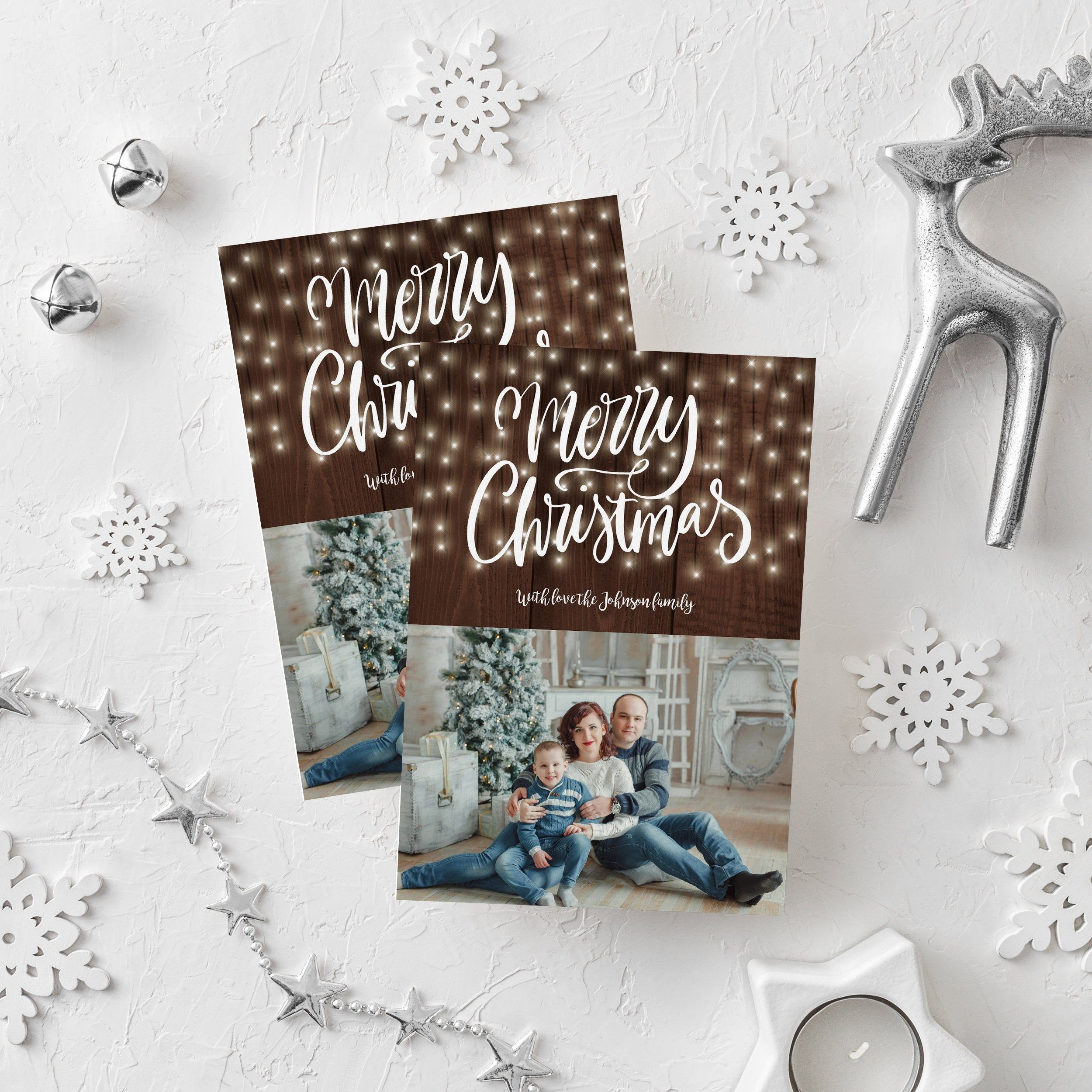 Christmas Photo Card Editable Template Merry Christmas Etsy Christmas Photo Cards Christmas Card Template Holiday Greeting Cards