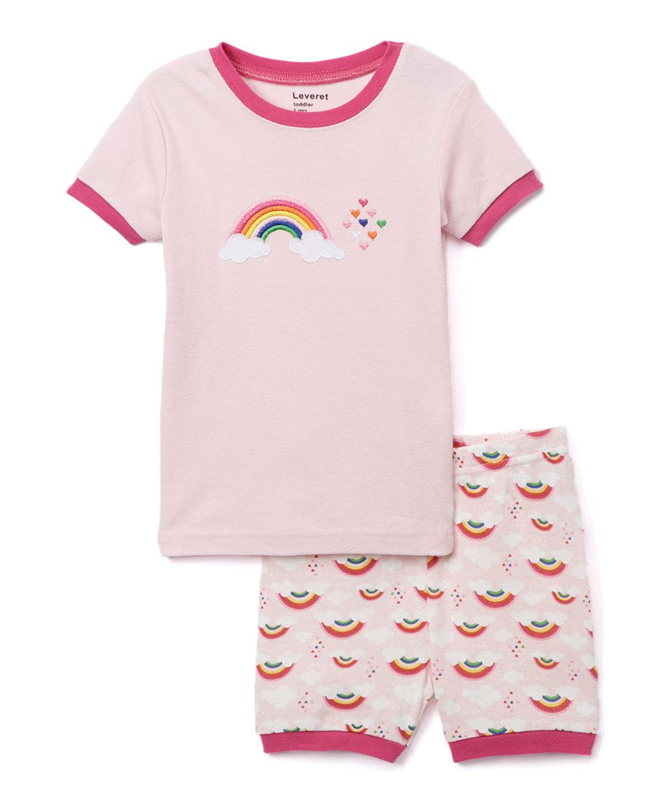 Look what I found on #zulily! Pink Rainbow Pajama Shorts Set - Kids by Leveret #zulilyfinds