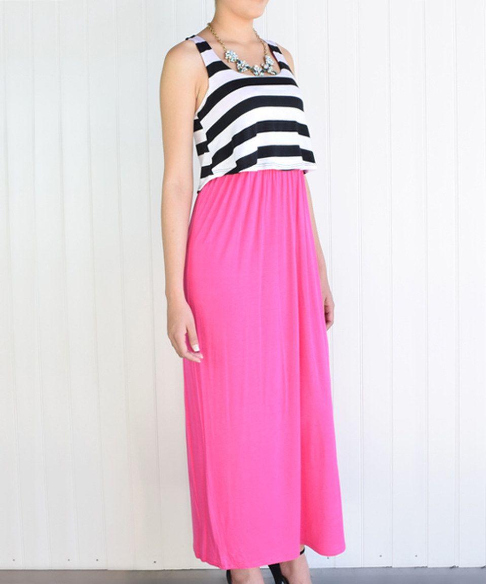 éloges Fuchsia & Black Stripe Tiered Maxi Dress by éloges #zulily #zulilyfinds