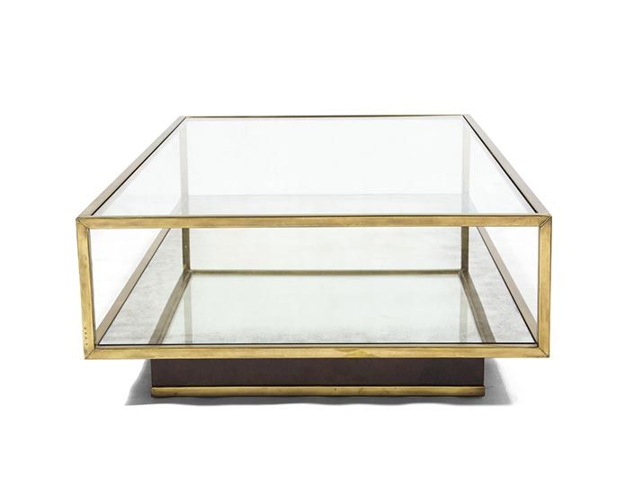 Amelie Square Brass And Mirror Coffee Table Rests On Recessed Plinth Base Covered In Vellum Lower Eglomis Shelf Also Available As Amelie Rectangular Coffee