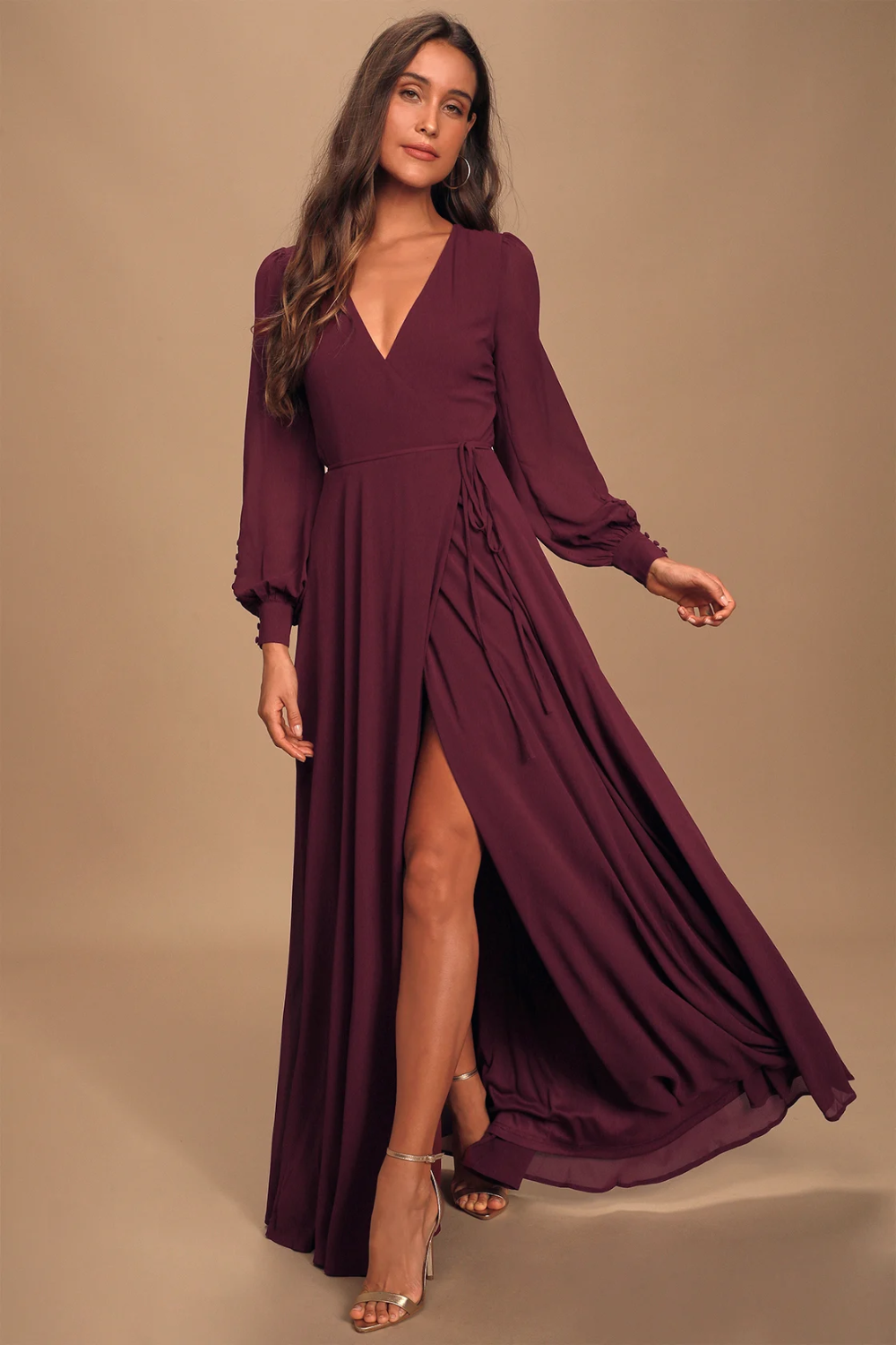 My Whole Heart Plum Long Sleeve Wrap Dress In 2020 Long Sleeve Wrap Dress Long Sleeve Dress Formal Bridesmaid Dresses With Sleeves