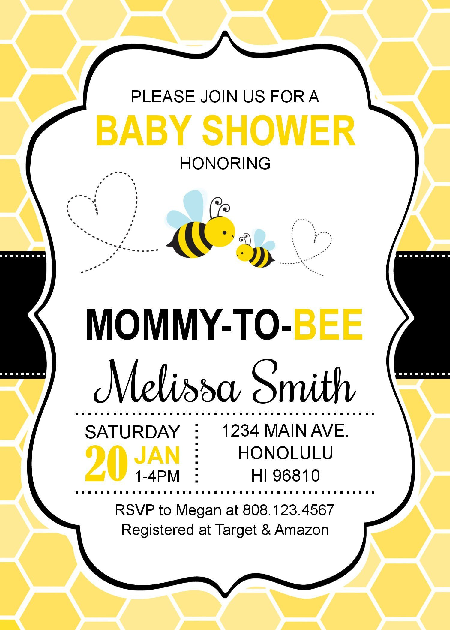 FREE Printable Bumblebee Baby Shower Invitations