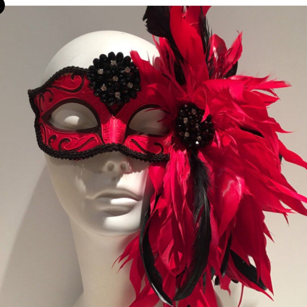 Red Mask -Save Venice-Feather Mask -Venetian Mask- Halloween Mask ...