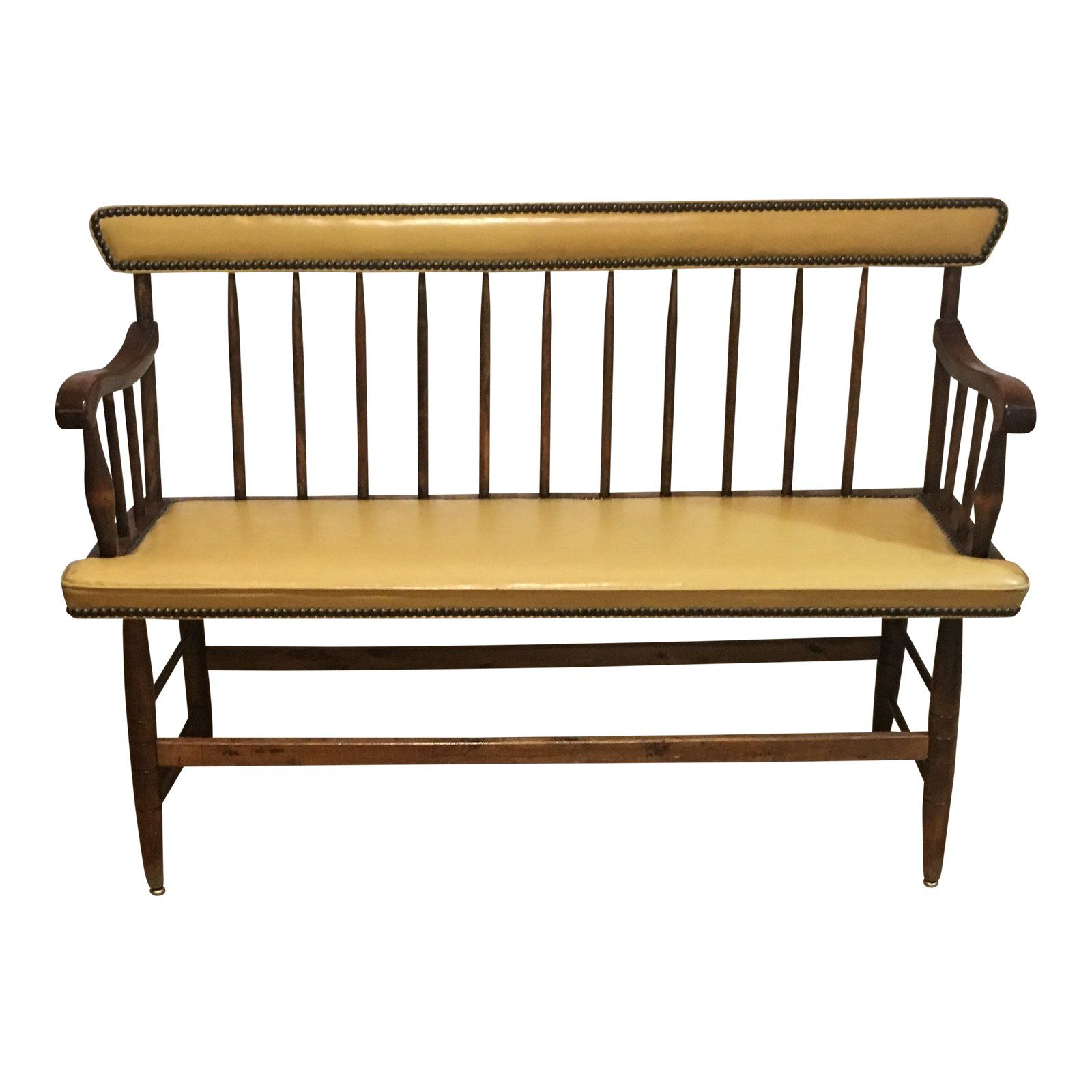 1950s Vintage Studded Yellow Cushion And Back Bench For Sale Benches For Sale Yellow Cushions Vintage Bench