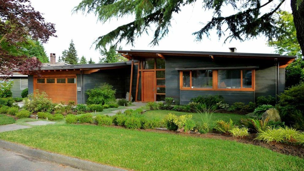 Staining Cedar Siding Exterior Midcentury With Street North Gray