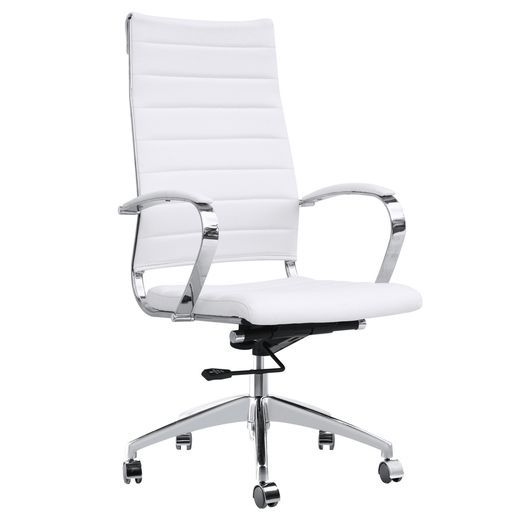 Fine Mode Imports FMI10078-WHITE Sopada Conference Office Chair High Back in White