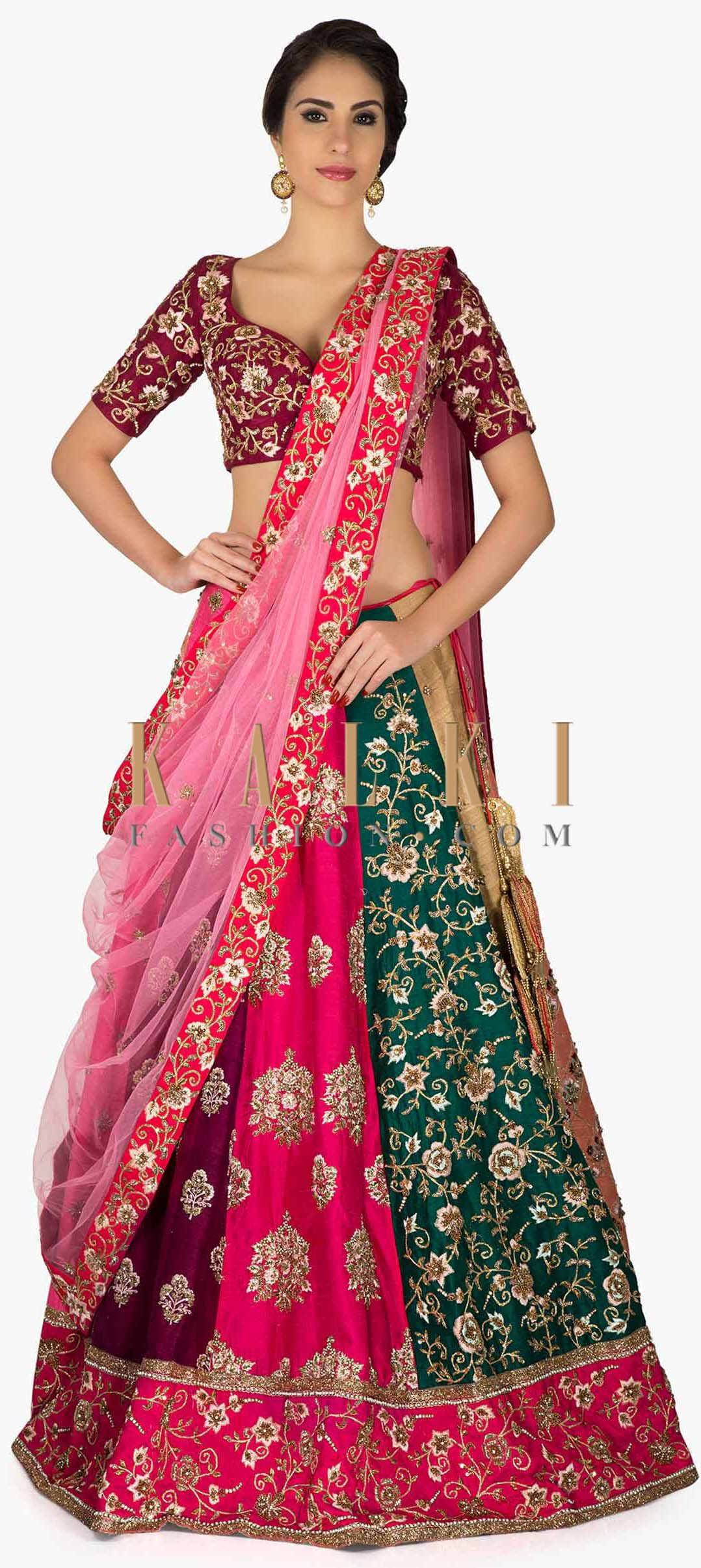 Multi-colored Raw Silk Lehenga set Featuring Resham Work and Sequins ...