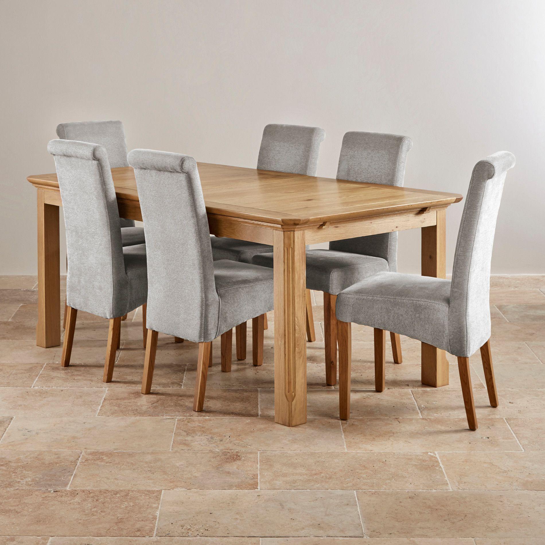 Edinburgh Solid Oak Dining Set 6ft Extending Table 6 Grey Chairs