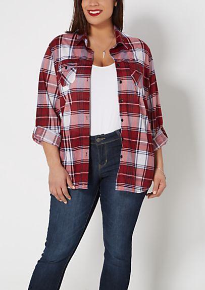 image of Plus Burgandy Plaid Shirt