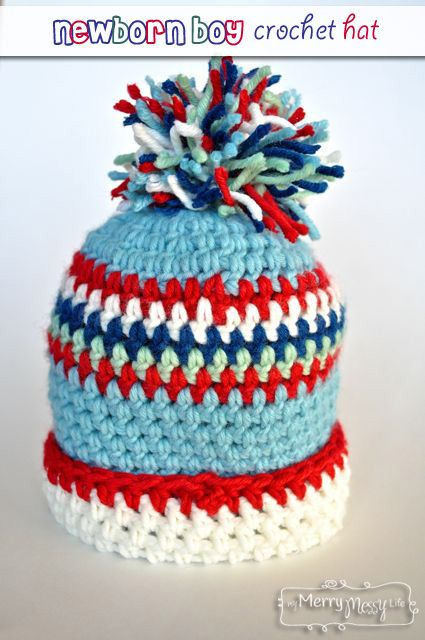 Baby Boy Crochet Hat with Cuff and Pom-Pom - Free Pattern ...