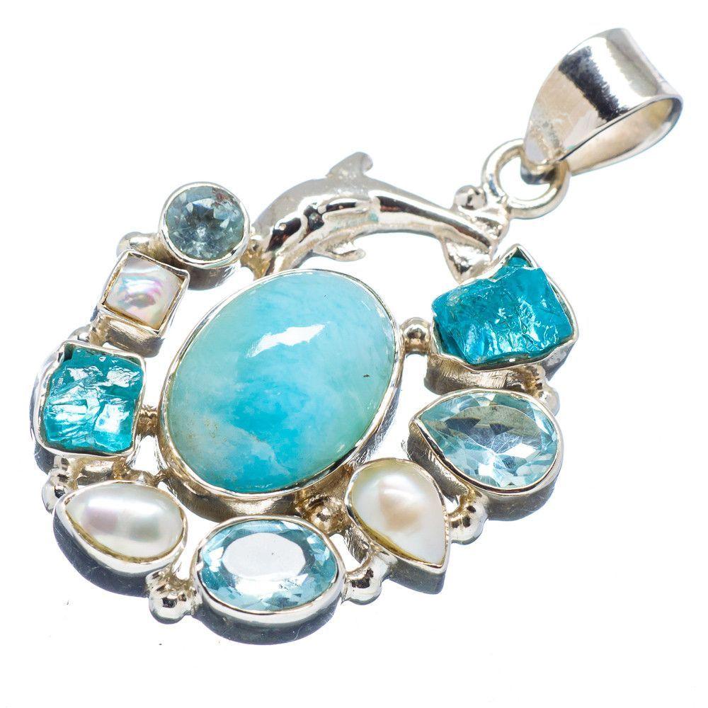 "Rare Larimar Dolphin, Apatite, Blue Topaz, Cultured Pearl 925 Sterling Silver Pendant 1 1/2"" PD538031"